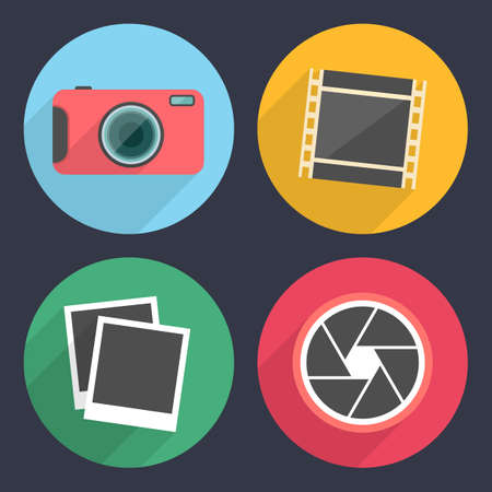 Photography icons with long shadow. Set 2 Vector