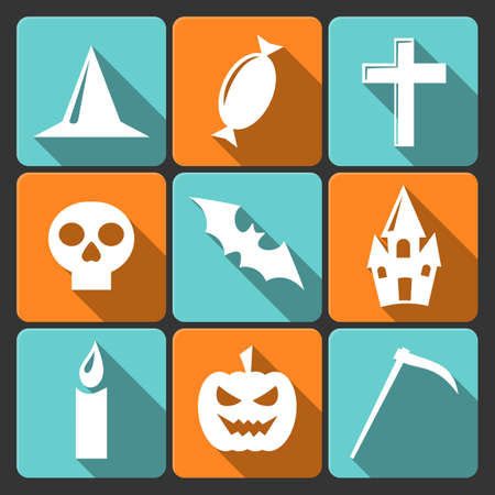 Halloween flat icons with long shadow