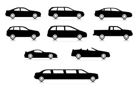 minivan: Silhouettes of different body car types