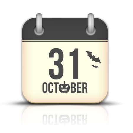 Halloween calendar icon with reflection. 31 October Vector