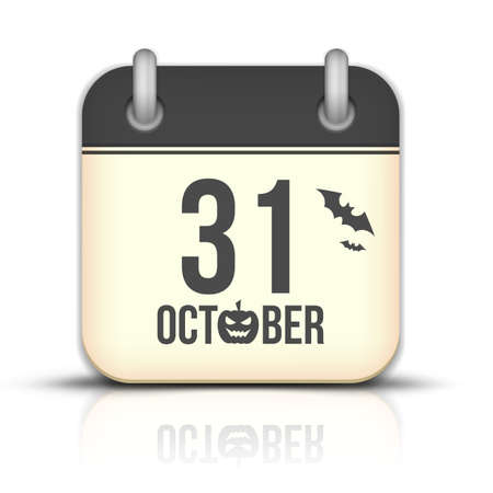 31: Halloween calendar icon with reflection. 31 October Illustration