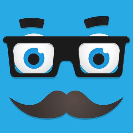 ojos caricatura: Hipster Avatar friki con gafas y el bigote Vectores