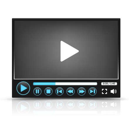 windows media video: Interfaz de Video Player Negro