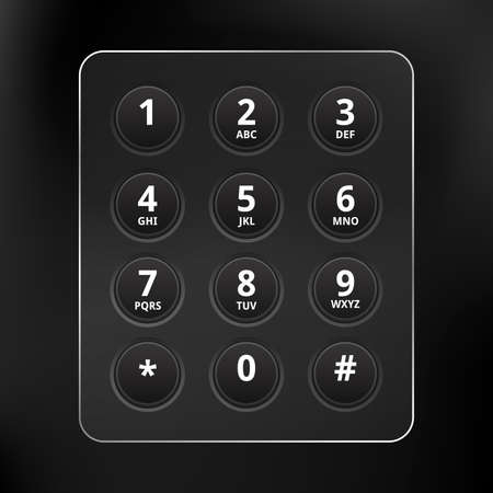 dialing pad: Black Phone Keyboard Illustration