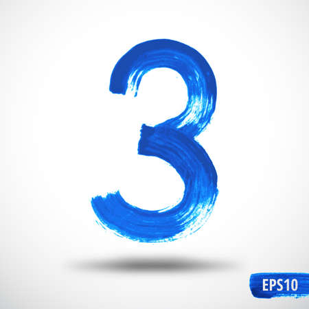 Watercolor Three Number. Grunge Background Vector