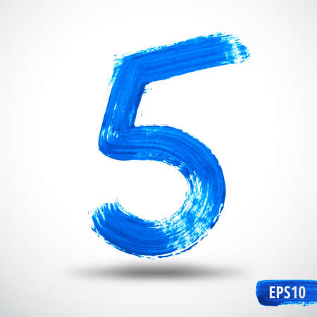 Watercolor Five Number. Grunge Background Vector