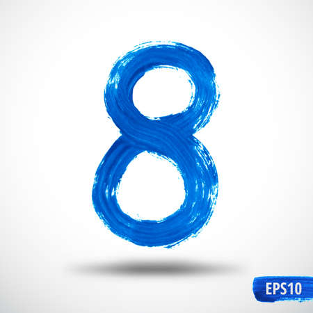 Watercolor Eight Number. Grunge Background Illustration