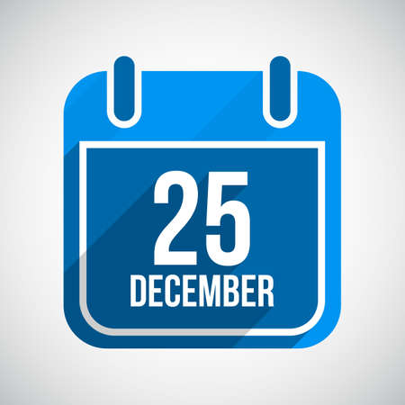 December 25 Calendar Icon. Flat Icon With Long Shadow. Christmas Day.  Vector