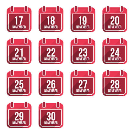 26 30 years: November vector flat calendar icons with long shadow. Calendar Days Of Year Set 4