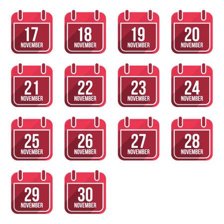 November vector plat kalender iconen met lange schaduw. Kalenderdagen na Jaar Set 4