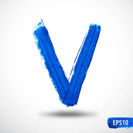 letter v: Alphabet Letter V. Watercolor Alphabet. Vector Background