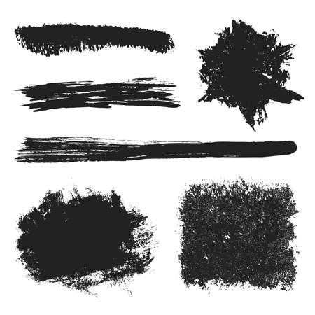 Vector Black Grunge Brushes Set 2 Vector
