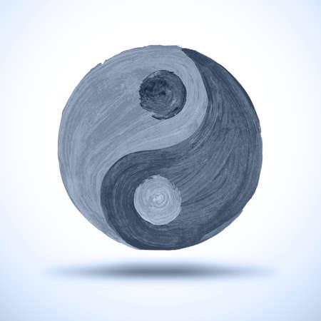 good karma: Taichi yin and yang. Watercolor Background. Grunge Illustration
