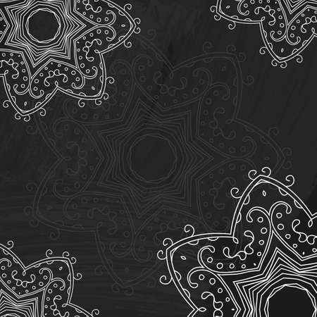 Vector flourish pattern. Chalk board with floral ornament.  Vector