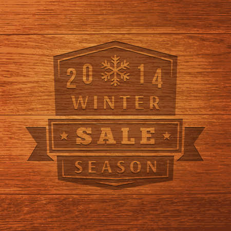 2014 Winter Sale Label On Wood Texture. Vector Background Vector