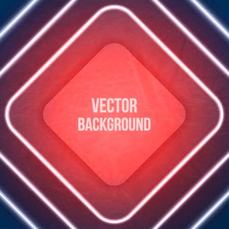 Vector Geometric Background. Neon lights. Grunge background Vector