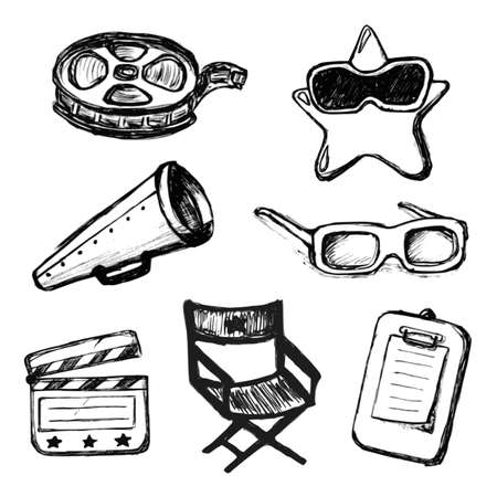 Cinema doodles. Vector iconen