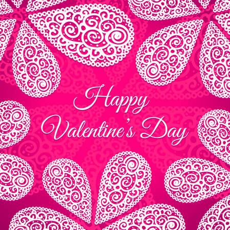 Happy Valentines Day. Vector doodle krullen achtergrond