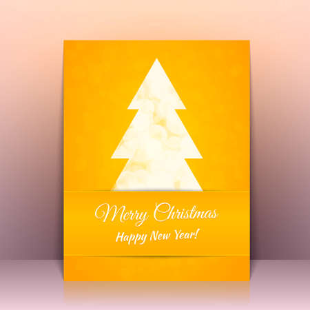 greeting card background: Yellow Greeting card background with Christmas tree