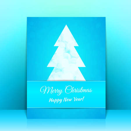 Blue Greeting card background with Christmas tree Stock Vector - 23993443