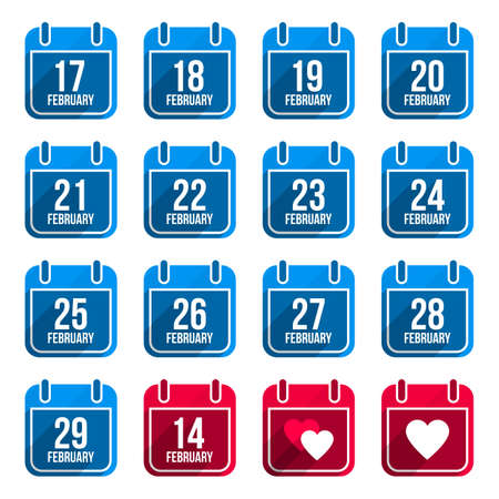 24 26: February vector flat calendar icons with long shadow. Calendar Days Of Year Set 10