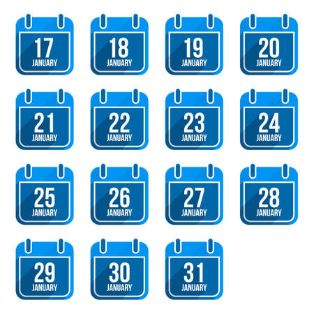 26 30 years: January vector flat calendar icons with long shadow. Calendar Days Of Year Set 8 Illustration
