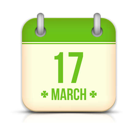 Saint Patricks day calendar icon with reflection Vector