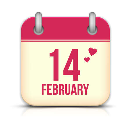 Valentines day calendar icon with reflection. 14 february Vector