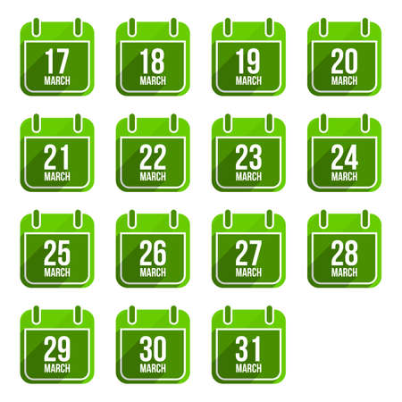 March vector flat calendar icons with long shadow. Calendar Days Of Year Set 12 Vector