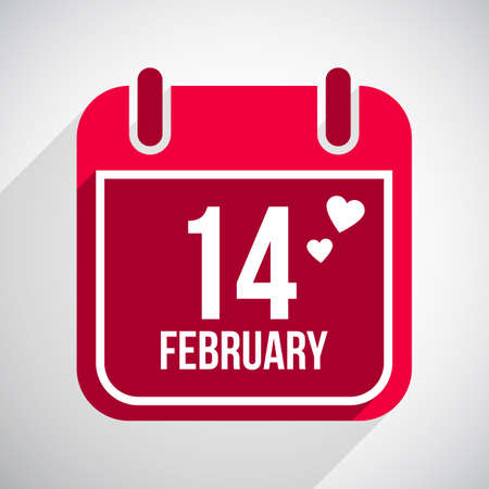 Valentines day flat calendar icon. 14 february Vector