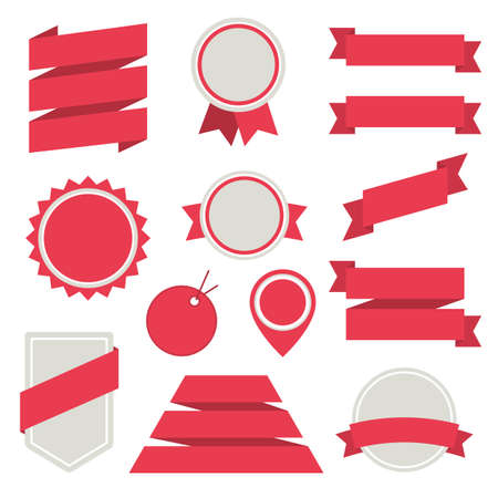 Vector Stickers and Badges Set 3. Flat Style. Vector