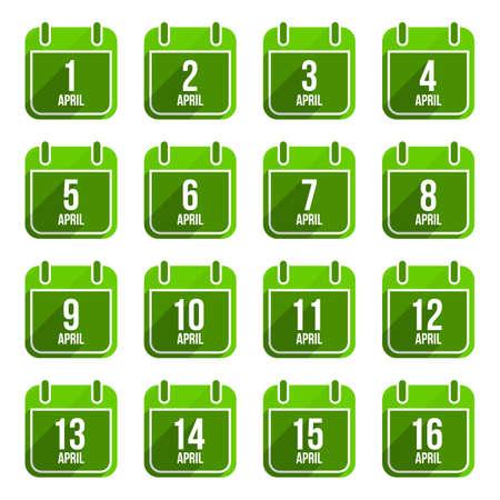 April vector flat calendar icons. Days Of Year