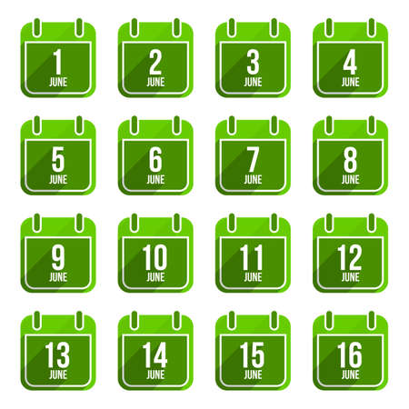 16 9: June vector flat calendar icons. Days Of Year