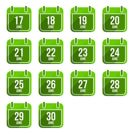 20 29: June vector flat calendar icons. Days Of Year