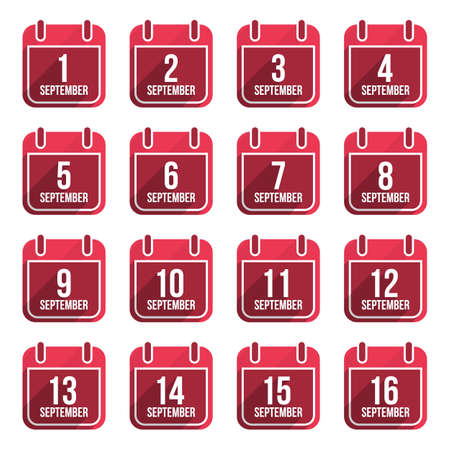 September vector flat calendar icons. Days Of Year Set 23 Vector