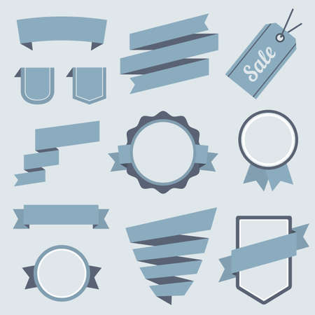 Vector Stickers and Badges Set 9. Flat Style. Vector