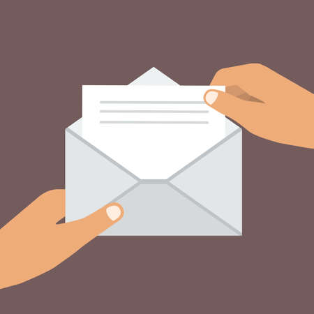 Hand Holding Opened Envelope. Flat style. Vector illustration