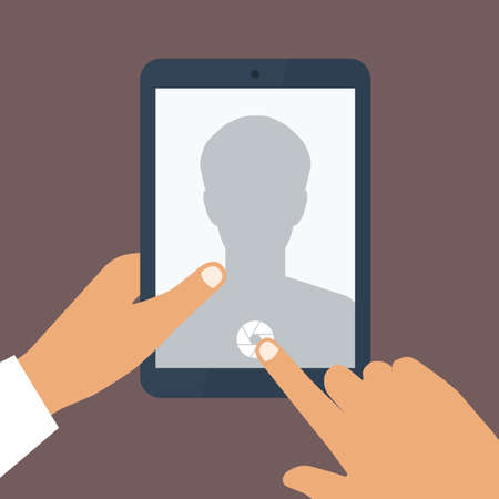 Human hand holds tablet pc with opened camera app. Vector background Vector