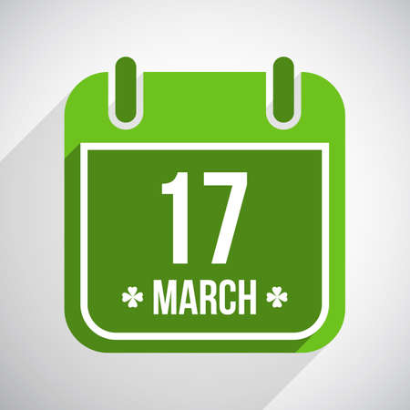 Saint Patricks day flat calendar icon with long shadow.  Vector