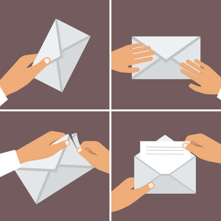 Hand Holding Envelope. Flat style. Vector illustrations set Vector