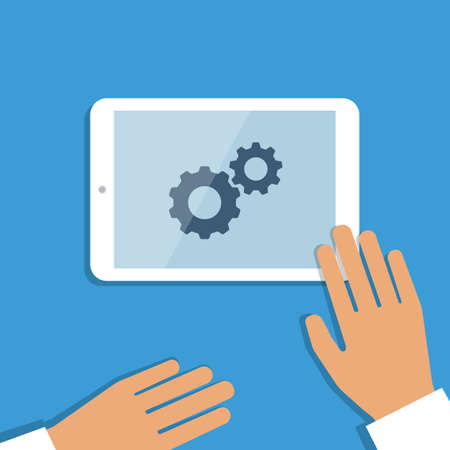 Tablet pc in process and human hands. Vector illustration Vector