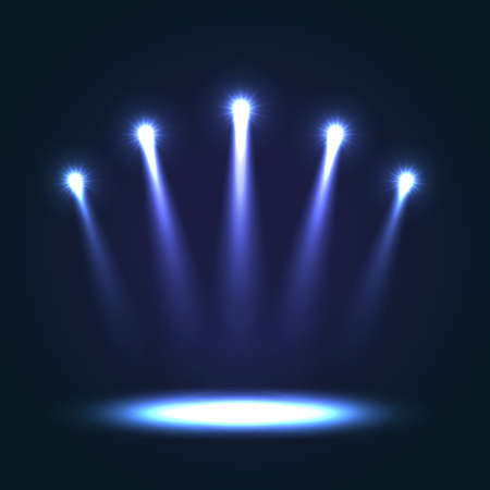 floodlight: Vector Background With Group Bright Projectors. Blue colored lights