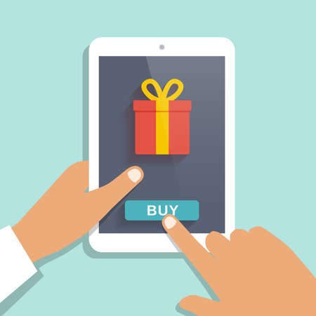 phone card: E commerce flat vector background. Man holds tablet pc and buys gift