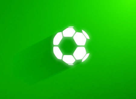 Flat soccer ball flying through the green grass field. Vector abstract background. Flat style illustration with long shadow and glowing ball Vector