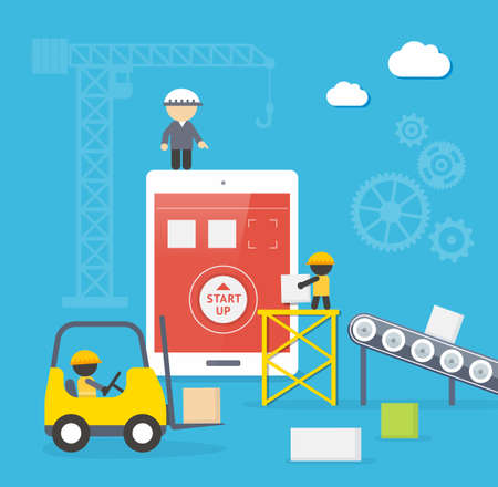 Flat style vector illustration concept of mobile app developement  Infographic design for process of smartphone application construction