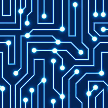 Vector gloeiende blauwe printplaat achtergrond Elektrische regeling naadloze patroon Vector illustratie Blauwe abstracte technologie achtergrond Stock Illustratie