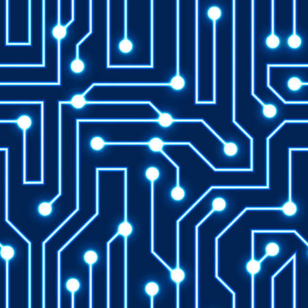Vector glowing blue circuit board background  Electrical scheme seamless pattern  Vector illustration Blue abstract technology background Иллюстрация