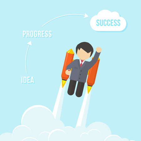 Businessman Flying On the Rocket To Success  Flat style vector infographic illustration Vector