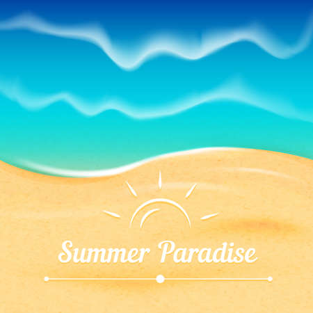 ocean view: Summer vector background with sea view  Waves on the ocean and white sand beach