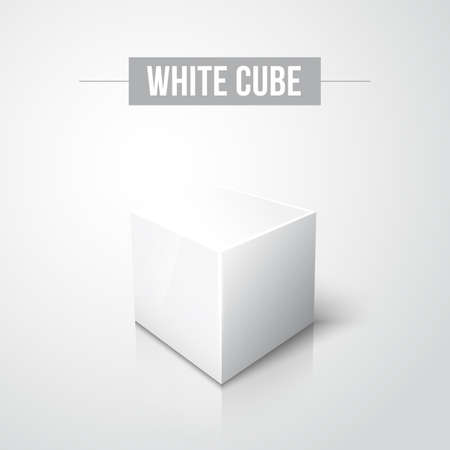 ebox: White cube on white background with reflection and shadow